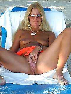 On Beach The Pussy Milf