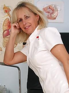 Nurse hairy pussy uniform in milf sexy stretching mine